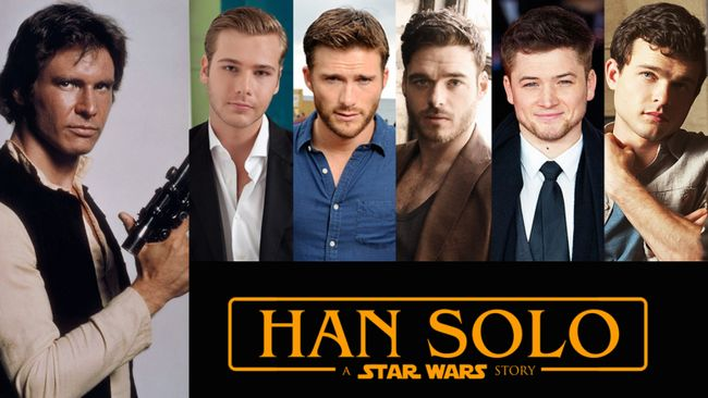 Harrison Ford Han Solo fundición lista corta lista joven Anthony Ingruber Scott Eastwood Richard Madden Aldrich Baron egerton toma franco Dave Reynor