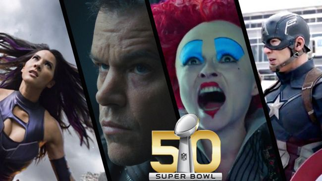 Superbowl 50 Capitán América guerra civil 2016 Alicia a través del espejo Super Bowl Jason Bourne Olivia Munn x-men apocalipsis
